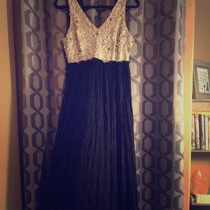 Allie rose faux leather cream flower maxi dress